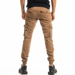 Мъжки камел карго панталон с ластик на крачолите 2