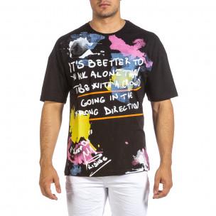 Черна мъжка тениска с колоритен принт