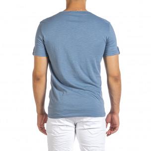 Текстурирана синя тениска с копчета 2