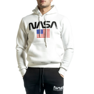 Плътен мъжки суичър NASA в бяло YRO58