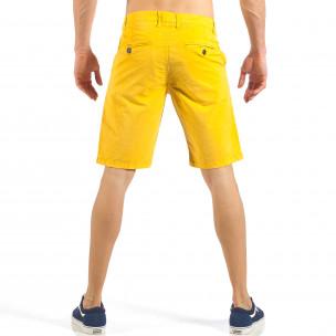 Мъжки жълти къси панталони с италиански джобове  2