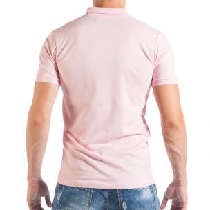 Розова мъжка тениска пике с яка  2