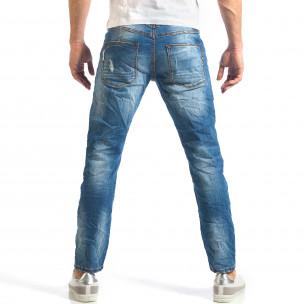 Мъжки дънки изчистен модел с леко избелял ефект  2