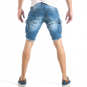 Мъжки рокерски къси дънки в синьо с карго джобове  2