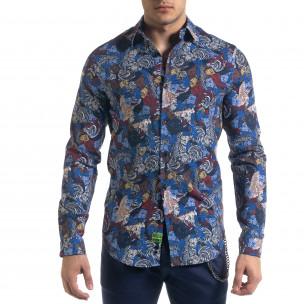 Slim fit мъжка риза десен в синьо
