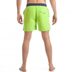 Мъжки зелени бански с разноцветни ленти  2