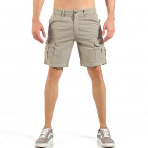 Мъжки къси карго панталони в цвят каки с дребен принт