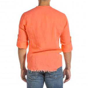 Мъжка ленена риза Vintage оранжев неон 2