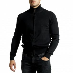 Фина мъжка жилетка с цип в черно