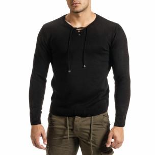 Мъжки фин черен пуловер с връзки