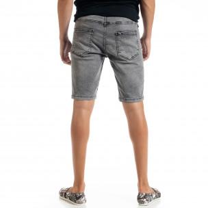 Big Size Basic мъжки сиви къси дънки  2