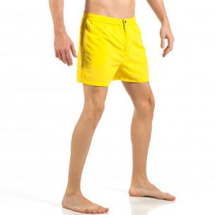 Мъжки жълт бански с цип и копче  2