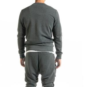 Basic мъжка памучна блуза в сиво  2