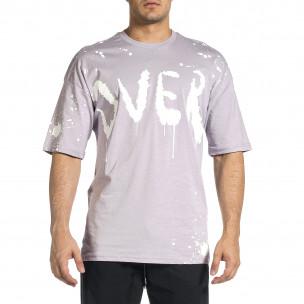 Мъжка лилава тениска с принт Oversize  2