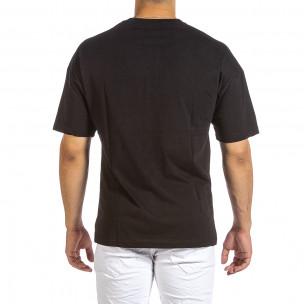 Черна мъжка тениска с колоритен принт 2