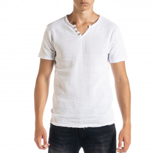 Мъжка тениска от памук и лен в бяло