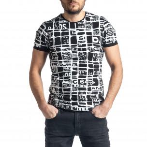 Мъжка тениска Raster черно и бяло