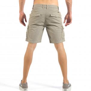 Мъжки къси карго панталони в цвят каки с дребен принт  2