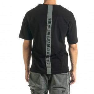 Мъжка черна тениска Hip Hop стил  2