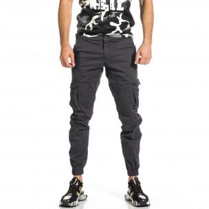 Мъжки сив карго панталон Jogger & Big Size