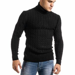 Мъжки черен пуловер с поло яка и плетеници