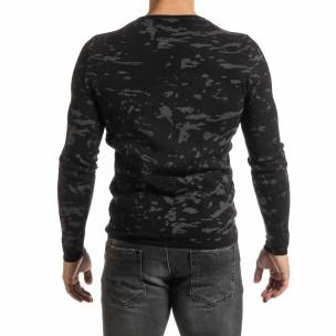 Мъжки сиво-черен пуловер пикселирана шарка  2