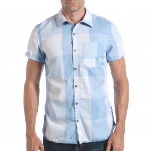 Мъжка риза с къс ръкав светло синьо каре