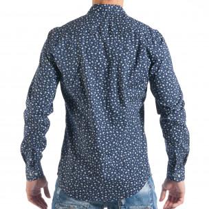 Мъжка тъмносиня риза с дребен Toys десен   2
