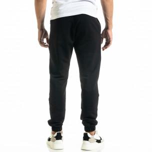Мъжко черно долнище с ципове на джобовете  2