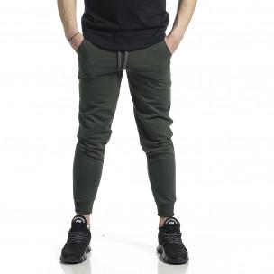 Basic памучно мъжко долнище милитъри зелено