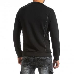 Ватирана черна блуза с гумиран надпис  2