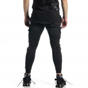 Hip Hop черно долнище с различни джобове  2