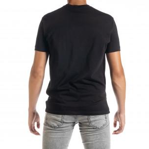 Черна мъжка тениска с принт 2