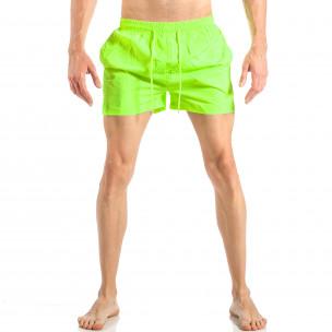 Мъжки неонов зелен бански с трицветна лента