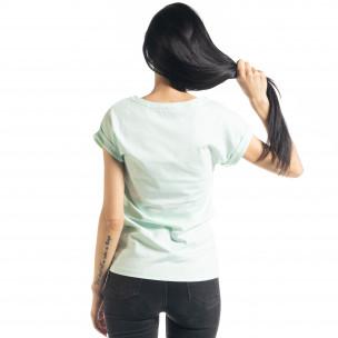 Дамска тениска с пайети цвят мента 2