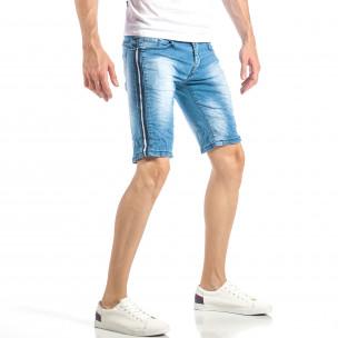Мъжки леки къси дънки в синьо с кантове   2