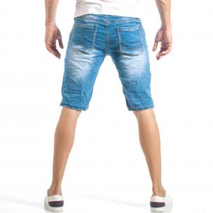 Мъжки летни къси дънки в светло синьо  2