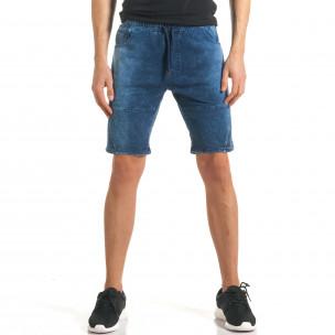 Мъжки сини шорти с ефект на дънки с допълнителни шевове