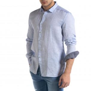 Ленена мъжка риза в светло синьо