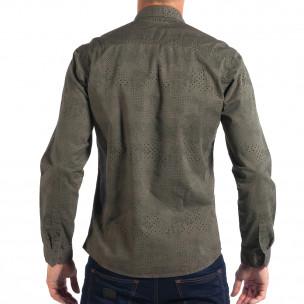 Regular риза RESERVED в зелено с дребен десен  2