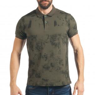 Мъжка зелена тениска с черен ефект
