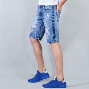 Мъжки сини къси дънки с кантове на звезди и скъсвания