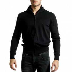 Фина мъжка жилетка с цип в черно  2