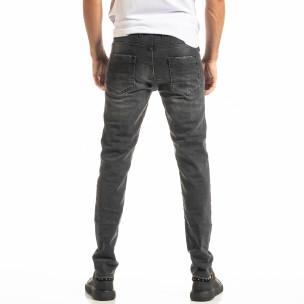 Long Slim черни дънки с избелял ефект  2