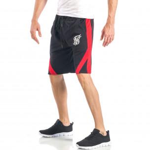 Мъжки черни шорти с червен кант 2