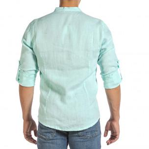 Мъжка ленена риза цвят мента 2