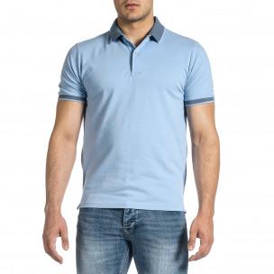 Мъжка светлосиня тениска с яка меланж  2