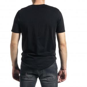 Мъжка черна тениска Slim fit с флок печат 2