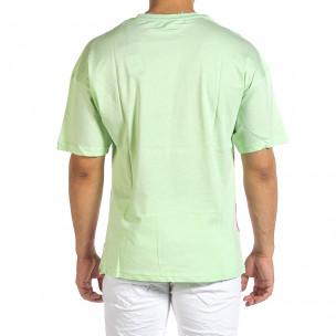 Зелена мъжка тениска с колоритен принт 2