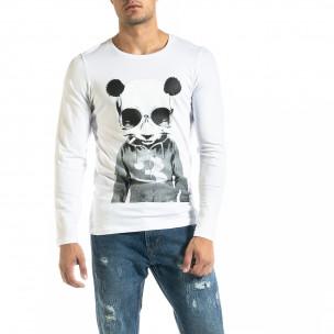 Мъжка бяла блуза Panda Skull